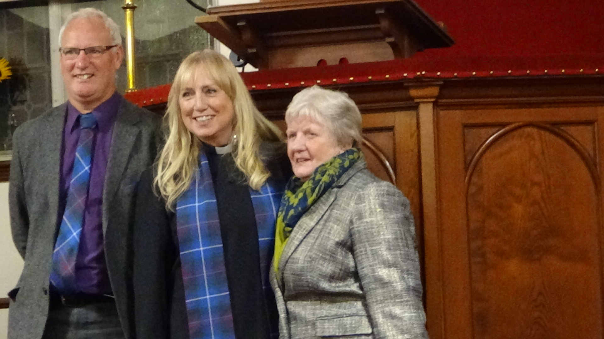 Clyne l/w Kildonan, Loth Helmsdale welcome our new Minister, Rev. Lorna Tunstall pictured here with her husband Mark and her Mum, Helen.